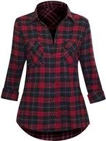 Hot From Hollywood Women's Classic Button Down Long Sleeve Plaid Shirt