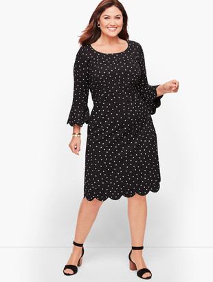 Talbots Dot Scallop Sleeve A-Line Dress