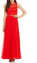 Jodi Kristopher Two-Piece Lace Top Long Dress