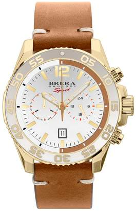 Brera Orologi Mens Mistral Diver Watch, Yg, White Dial, Cuoio Genuine Leather Strap.