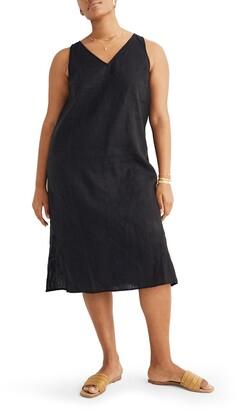 Madewell Linen Blend V-Neck Midi Tank Dress