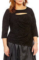 Alex Evenings Plus Keyhole Knit 3/4 Sleeve Blouse