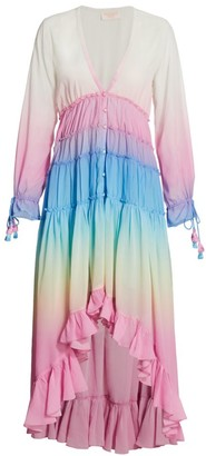 Rococo Sand Rainbow Tiered High-Low Dress