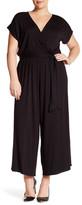 Loveappella Short Sleeve Palatzo Jumpsuit (Plus Size)