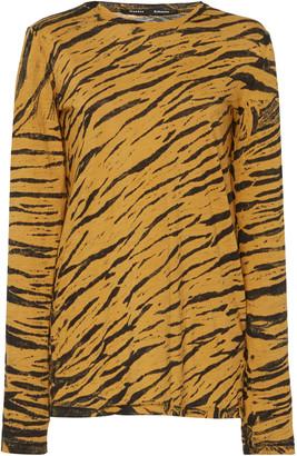 Proenza Schouler Animal Print Distressed Cotton T-Shirt