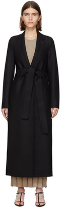 Harris Wharf London Black Pressed Wool Belted Coat