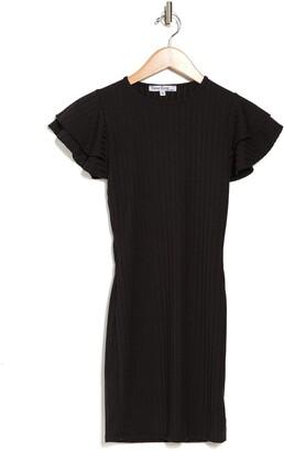 Velvet Torch Ruffle Sleeve Ribbed Bodycon Mini Dress