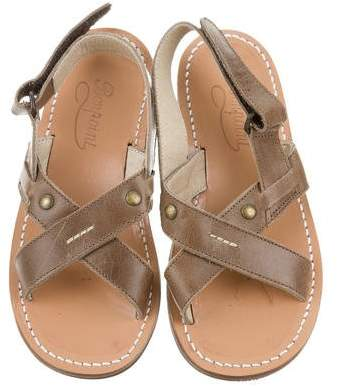 Bonpoint Girls' Leather Crossover Sandals