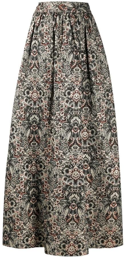 Alice + Olivia Embroidered Textured Skirt