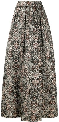Alice + Olivia Embroidered Textured Skirt