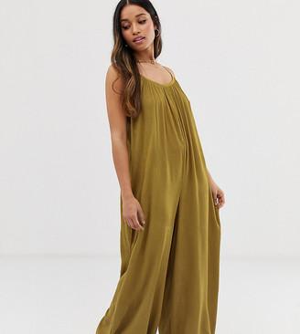 Asos DESIGN Petite low back jumpsuit in crinkle-Green