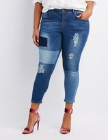 Charlotte Russe Plus Size Destroyed Patchwork Skinny Jeans