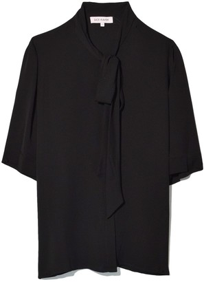 Dice Kayek Tie Neck Short Sleeve Shirt in Black