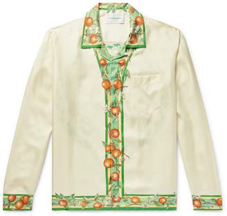 Casablanca Camp-Collar Printed Silk-Twill Shirt - Men - White