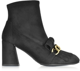 Stuart Weitzman Ringleader Black Ultra Stretch Suede Heel Boots w/Fringes and Golden Chain