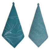 Pehr Adelaide Criss Cross & Feather Napkins: Set Of Four In Teal