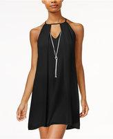 As U Wish Juniors' Necklace Chiffon Shift Dress
