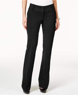 Alfani Petite Faux-Leather-Trim Wide-Leg Trousers