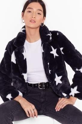 Nasty Gal Womens Fur Our Shining Star Faux Fur Jacket - black - L