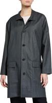 eskandar Linen A-Line Raincoat