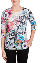 Allison Daley Petites Crew-Neck Floral Sketch Print 3/4 Sleeve Knit Top
