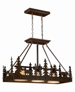 Vaxcel Bryce 3 Light Rustic Deer Amber Glass Kitchen Island Pendant Light