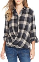 Blank NYC BLANKNYC Check Wrap Front Shirt