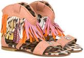Roberto Cavalli Medusa fringed sandals - kids - Leather/Suede/Pig Leather/rubber - 28