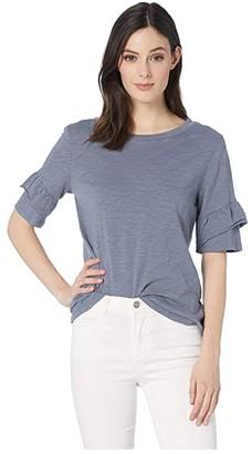 Dylan by True Grit Soft Slub Short Ruffle Sleeve Tee (Vintage Navy) Women's T Shirt