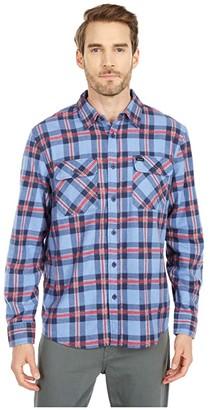 Brixton Bowery Lightweight Long Sleeve Flannel (Casa Blanca Blue) Men's Clothing