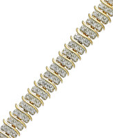 "Townsend Victoria Rose-Cut Diamond ""S"" Bracelet in 18k Gold over Silver-Plated Brass or Silver-Plated Brass (1 ct. t.w.)"