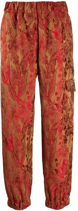 Alberto Biani Floral-Jacquard Cargo Trousers