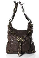 Kooba Brown Leather Gold Tone Stud Shoulder Handbag