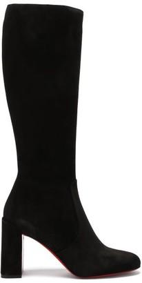 Christian Louboutin Cavalika 85 Suede Knee-high Boots - Black