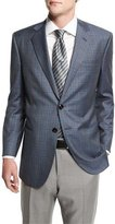 Giorgio Armani Taylor Plaid Two-Button Wool Jacket, Gray/Teal