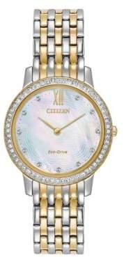Citizen Eco-Drive Swarovski Crystal & Stainless Steel Analog Watch