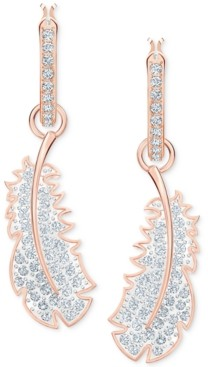 Swarovski Rose Gold-Tone Crystal Feather Convertible Hoop Earrings