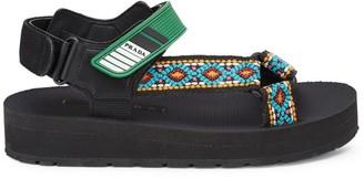 Prada Embroidered Platform Sport Sandals