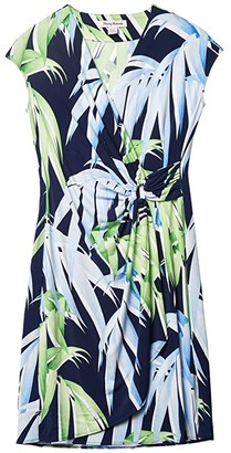 Tommy Bahama Perfect Palmday Short Sleeve Dress (Island Navy) Women's Clothing