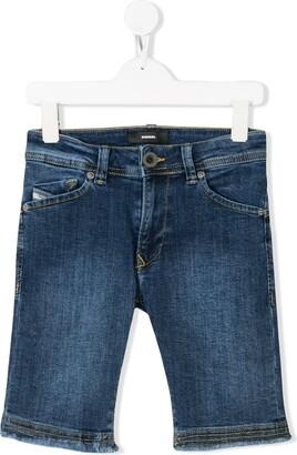 Diesel frayed denim shorts