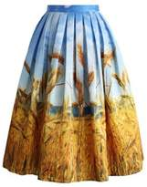 CoutureBridal Retro A Line Pleated Pattern Print Midi Skirt For womens