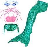 RioRand Girls' Swimsuit,3PCS Kids Swimsuit Mermaid Tail Swimmable Mermaid Swimsuit (M)