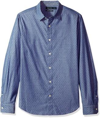 Nautica Men's Long SLV Signature Print Stretch Slim Fit Button Down Shirt