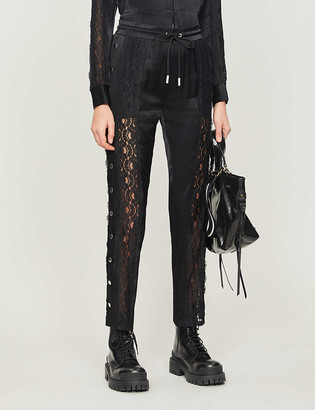 The Kooples Sport Lace-panel tapered crepe trousers