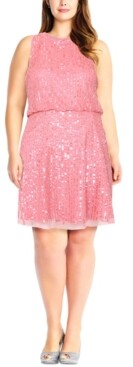 Adrianna Papell Size Embellished Mock-Neck Dress
