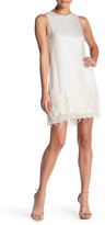 Parker Crew Neck Sleeveless Embellished Feathered Dress