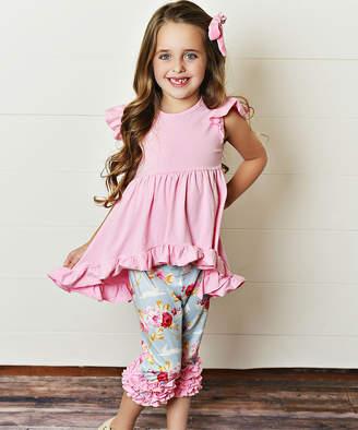 Adorable Sweetness Girls' Capris Teal/Pink - Pink Ruffle-Trim Tunic Set - Toddler & Girls