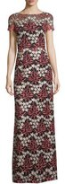 Aidan Mattox Short-Sleeve Floral Embroidered Gown, Coral/Gold/Black