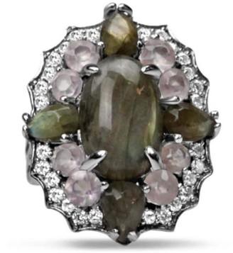 Bellus Domina Silver Labradorite & Quartz Ring