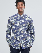 Celio Slim Fit Shirt With All Over Floral Print
